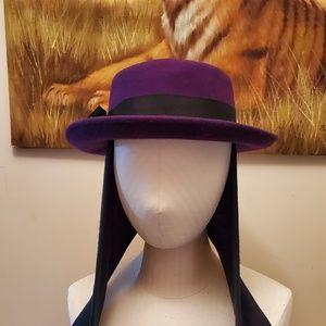 100% Wool Arlin Vintage Purple Hat with black tie